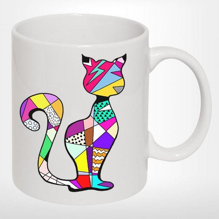 Kubek ceramiczny GEOMETRIC CAT biały KOT KOTY
