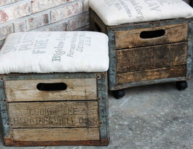 Use milk crates to make these rustic ottomans.