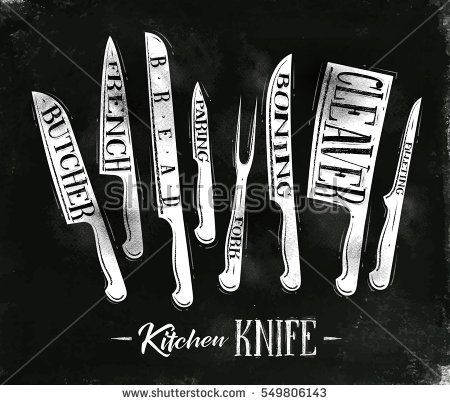Poster kitchen meat cutting knifes butcher, french, bread, paring, fork, boning, cleaver, filleting in vintage style drawing with chalk on chalkboard background