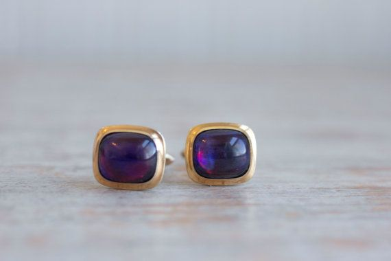 Vintage Purple Blue Red Dragon Breath Glass Cabachon cuff links by MollyFinds