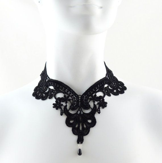 Black Lace Choker Necklace  Victorian Gothic Collar  by Arthlin, $30.00