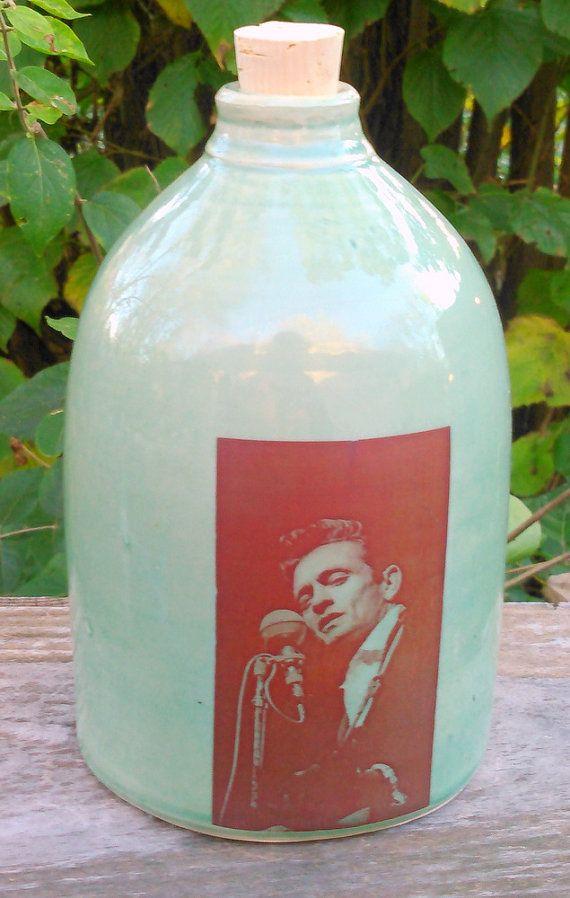 Johnny Cash jug ceramic handmade