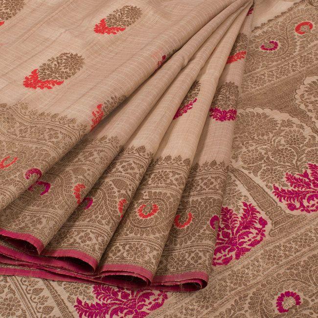 Handwoven Beige Banarasi Tussar Silk Saree With Floral Butis 10016685 - AVISHYA.COM