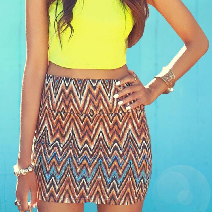 Blog Post : OOTD  Tribal Mini Skirt & Sleeveless Crop Top  White nail enamel, skull bracelet