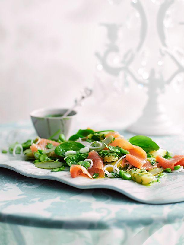 Potato salad with smoked salmon