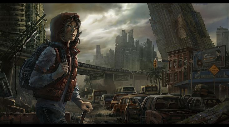 lonely traveler in a destroyed city (SkyWorld story)