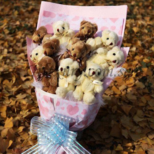 Pink Heart Teddy Bear Bouquet http://www.giftxury.com.sg/product/pink-heart-teddy-bear-bouquet/
