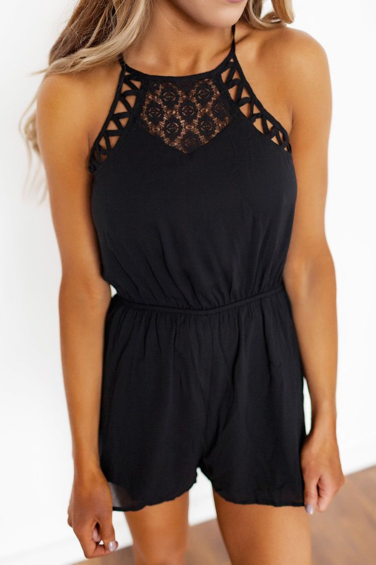 Black Lace/Strappy Detail Romper - Dottie Couture Boutique
