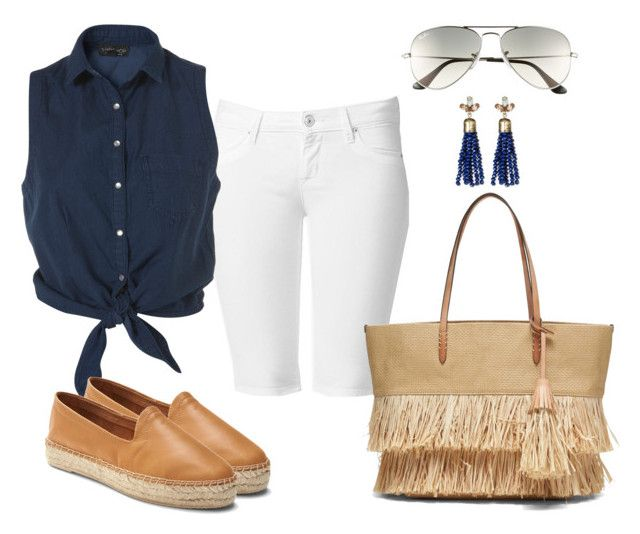 """Vacation outfits 4"" by lccalifornia ❤ liked on Polyvore featuring Hudson Jeans, Gap, SUGARFIX by BaubleBar, Ray-Ban and Banana Republic"