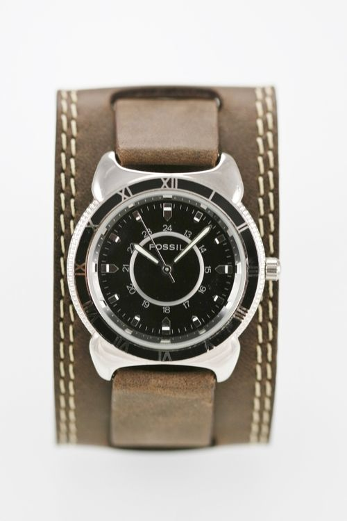 Fossil Mens Watch Black Stainless Silver Leather Brown 30m 24hr Battery Quartz