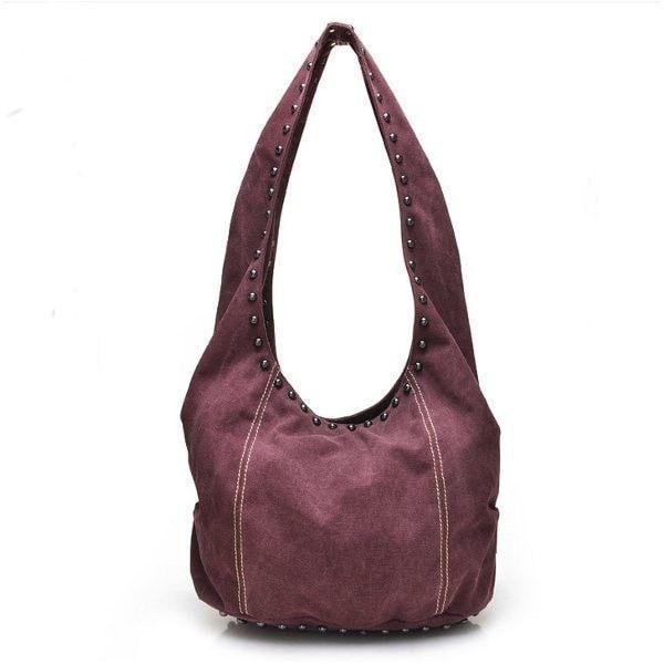 Women Rivet Canvas Crossbody Bags Casual Hip Pop Shoulder Bags Large Capcity Bags