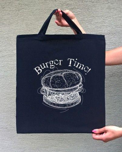 BURGER TIME (torba bawełniana z krókim uchem, kolor czarny) - tylko 22,50 PLN