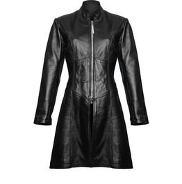 Ladies Gothic Steampunk Style Trench Coat Black Sheep Leather Sexy Jacket