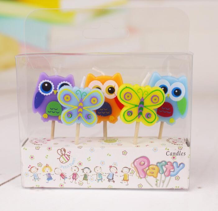5 Шт./лот новый творческий мультфильм день рождения свечи праздник партия торт украшения сада сова бабочка купить на AliExpress