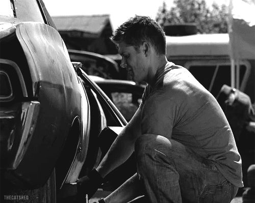 Dean working on the car gif