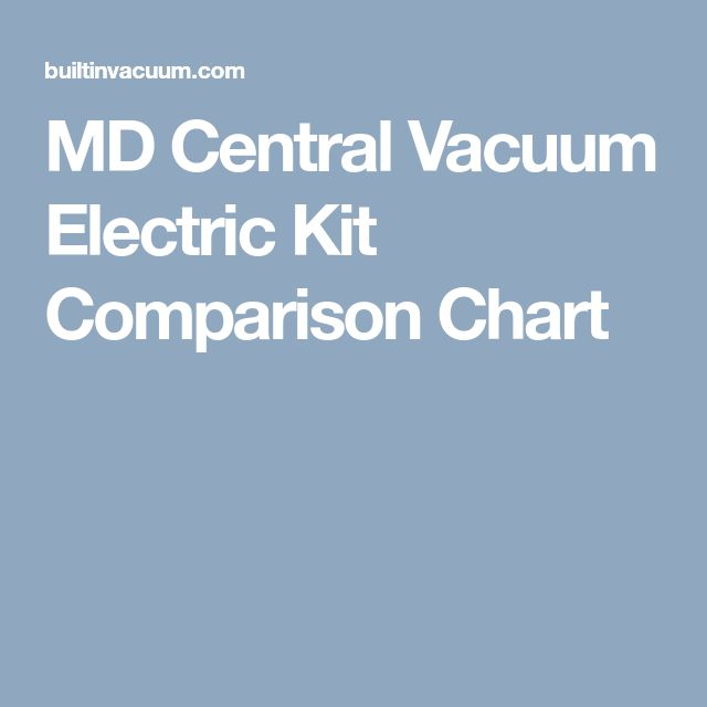MD Central Vacuum Electric Kit Comparison Chart
