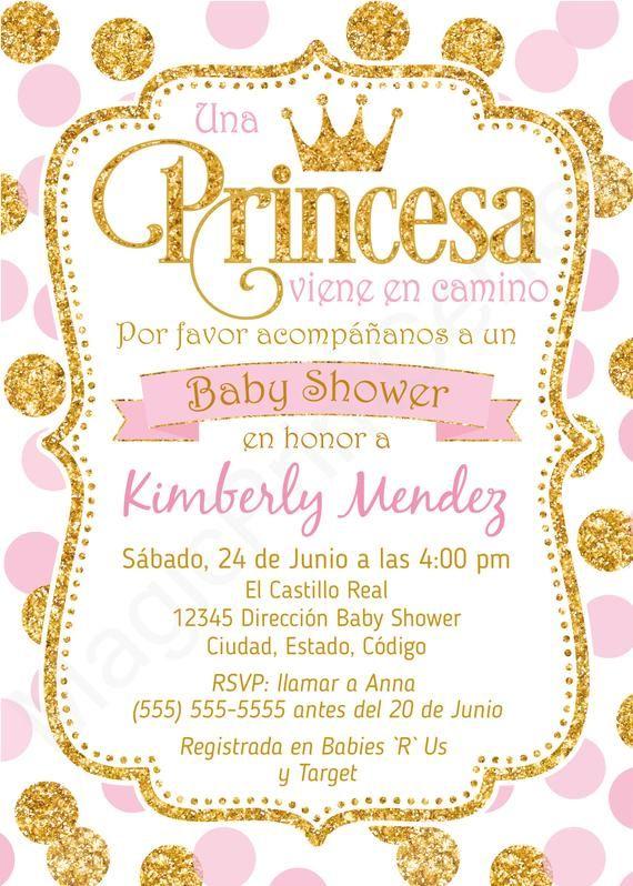Spanish Royal Princess Baby Shower Invitation Girl Espanol