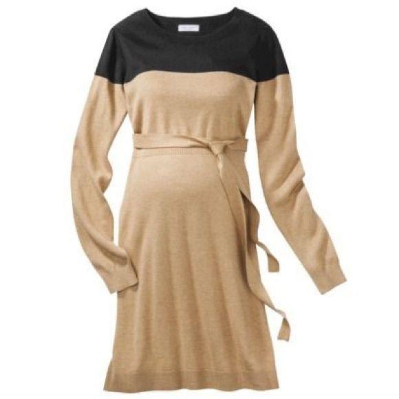 Liz Maternity Dress Liz Maternity Long-Sleeve ColorBlock Sweater Dress - Black/Camel Size S Liz Lange Dresses Long Sleeve