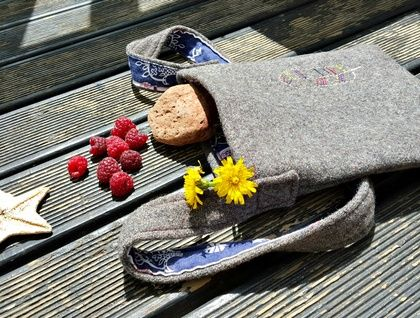 Kid's Foraging Bag - Feather  Perfect for treasures!  Handmade from recycled fabrics and hand embroidered.  https://cherryberry.felt.co.nz