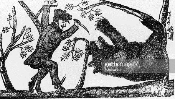 News Photo : Illustration of Davy Crockett killing a bear,...