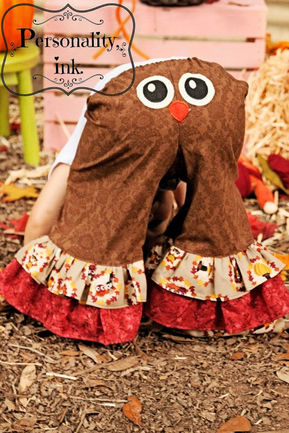 Appliqued Thanksgiving Owl Ruffle Pants Girls by personalityink, $40.00