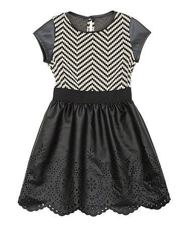 Love this Black Chevron Skater Dress - Girls on #zulily! #zulilyfinds