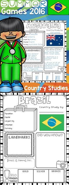 Bring the Rio Summer Olympics to your classroom this coming school year with these easy to use country study worksheets. An information worksheet for every country competing in the Summer Olympic Games is included! These worksheets come in two variations! A black and white set, as well as a set with colored flags!