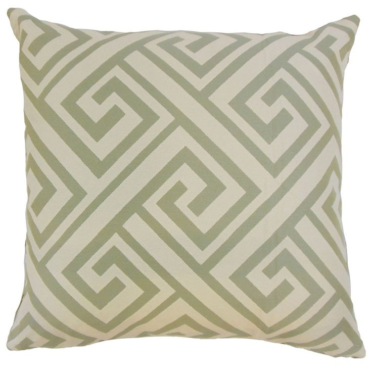 "Josue Geometric 22"" x 22"" Down Feather Throw Pillow Celadon (22"" x 22""), Green, Size 22 x 22"