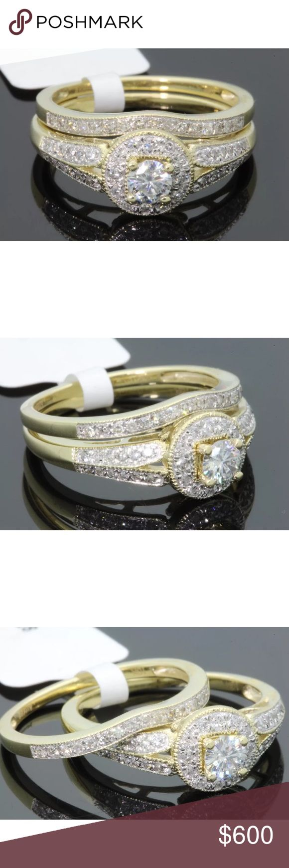0.55 carat 10k yellow gold diamond ring set 0.55 carat 10k yellow gold diamond ring set! High quality diamonds! H-I color/SI1 clarity. Center diamond is 0.20 carats! Retail $1675! Lower on pal! Jewelry Rings