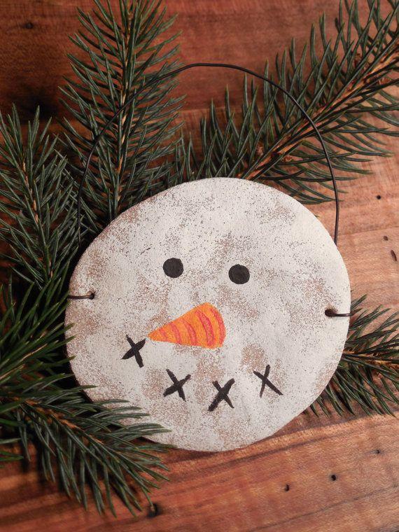 Snowman Face Gingerbread Salt Dough Ornaments by OldWorldMarket, $5.00