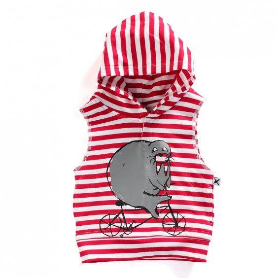Minti Baby Sleeveless Hood Riding Walrus - Red stripe