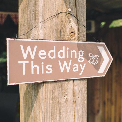 The Wedding Of My Dreams This Way Brown Directional Sign