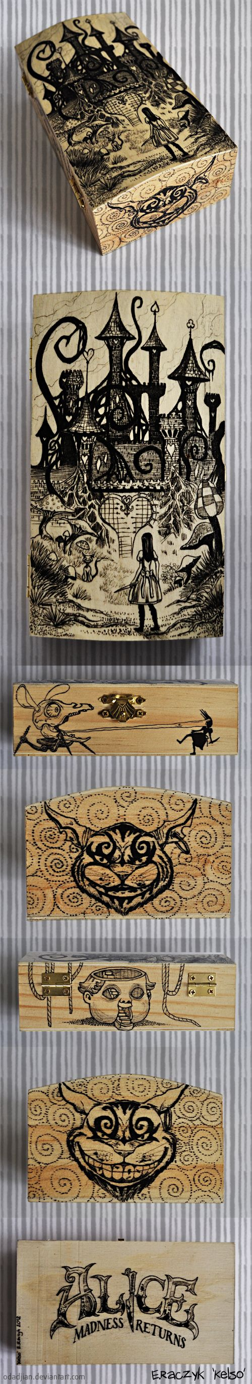 Alice Madness Returns woodenbox by Odadjian.deviantart.com