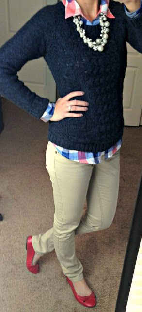 Gingham button down shirt, navy sweater, statement necklace, khaki pants & red flats