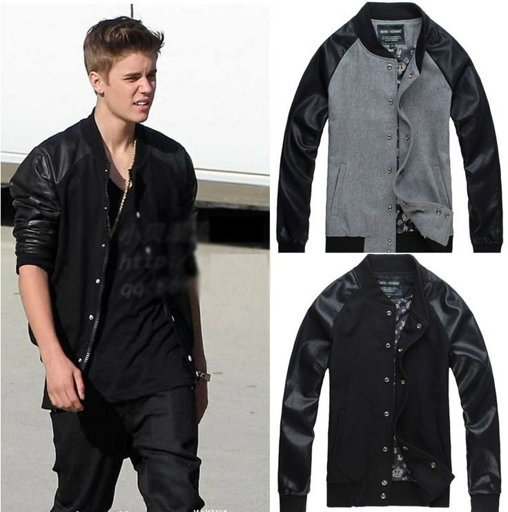 2013 Justin Bieber Clothes Outerwear Baseball Clothing Male Patchwork Jacket Wes Quave