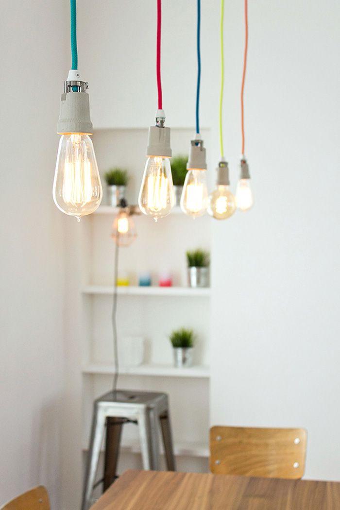 suspension ampoules fil color insidecloset ampoule l 39 air libre pinterest ampoule. Black Bedroom Furniture Sets. Home Design Ideas