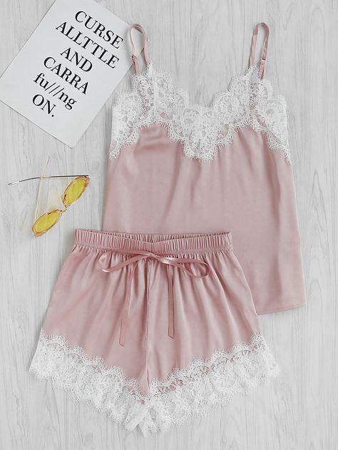 80ebaaf54d6a Модная атласная пижама с кружевной вставкой | бюстье бельё в 2019 г ...