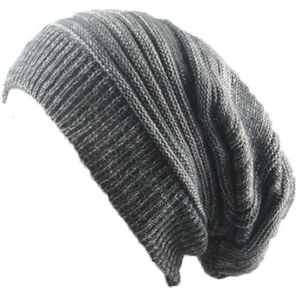 Dark Grey Winter Warm Cable Knit Slouchy Beanie Cap ($8.95) ❤ liked on Polyvore featuring accessories, hats, slouch beanie, cable knit beanie, slouchy beanie hats, cable knit hats and slouchy hat