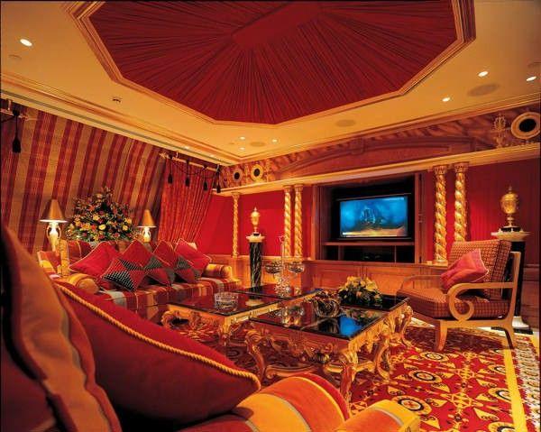 Luxurious Villa Qatar gorgeous marble columns, gold chandelier Orange Chair