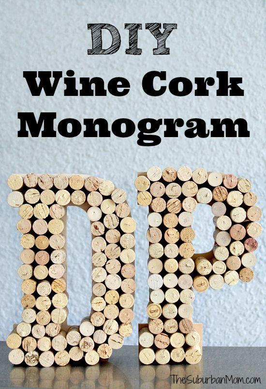 DIY Wine Cork Monogram Letter Craft - upcycle
