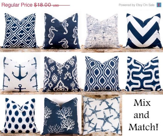 """$16.20-SALE ENDS SOON Navy Throw Pillows, Ikat Pillow Covers, Polka Dots, Nautical, Cushion Covers, Mix and Match, 18 x 18"""""""