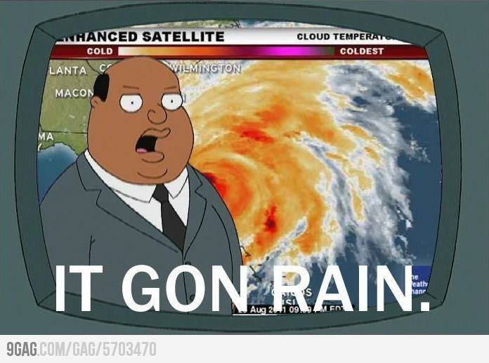"""""""And now here's Ollie Williams with the Black You weather report on Hurricane Sandy. Ollie?"""" {^_^}. """"It gon rain""""!"""