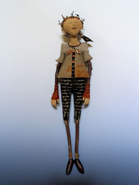 """Waiting For Tomorrow -   Materials: Cloth: needle sculpted, iron oxide transfer; tea-dyed silk chiffon over cloth face; Poplar branch arms and legs, leather, (1) air dry clay bird, leather leaves, wire, botanicals, colored pencil, acrylic paint; 23"""" h x 6""""w x 3 1/2""""d  @akirastudios"""