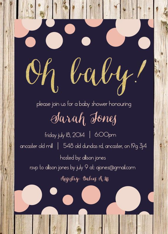 Baby Shower Invitation, New Baby, Dots, Bubbles, Navy, Pink, Blush, White, Gold, Glitter, Confetti