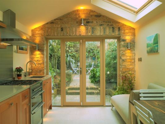galley style with patio door & brick, victorian cottage renovation in Oxford