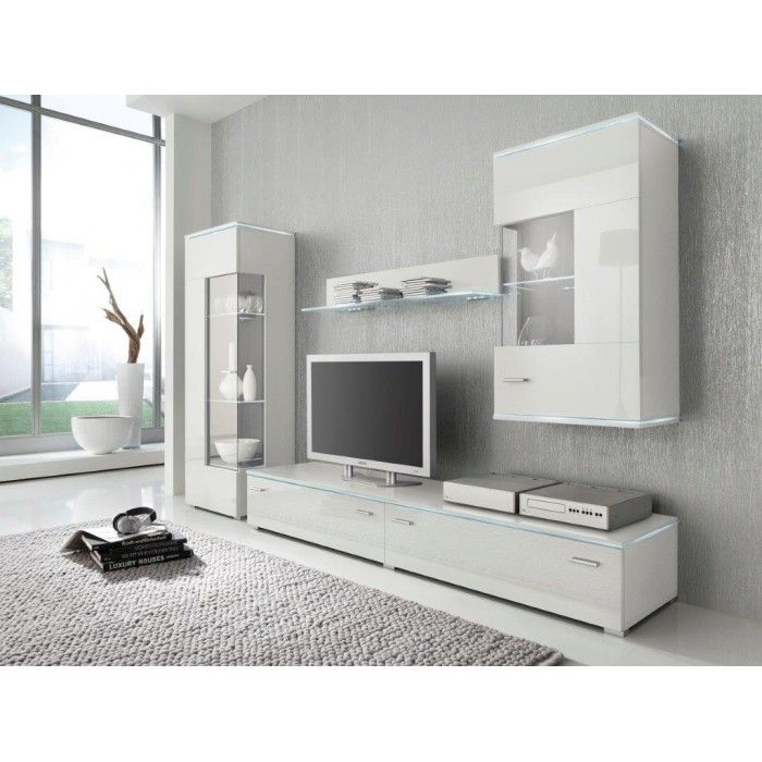 """""""Lincoln"""" High Gloss Contemporary Entertainment Furniture Set with LED lighting"""