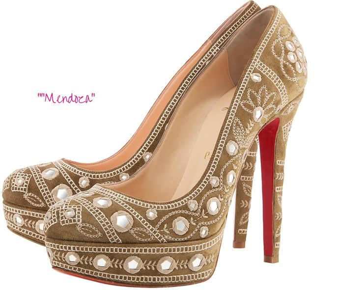 8e78c48d025 Christian Louboutin Spring 2012 Collection  Mendoza embroidered suede  platform pump