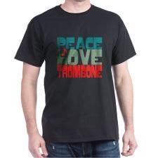 Peace Love Trombone T-Shirt #marchingbandstuff #hornandcastle