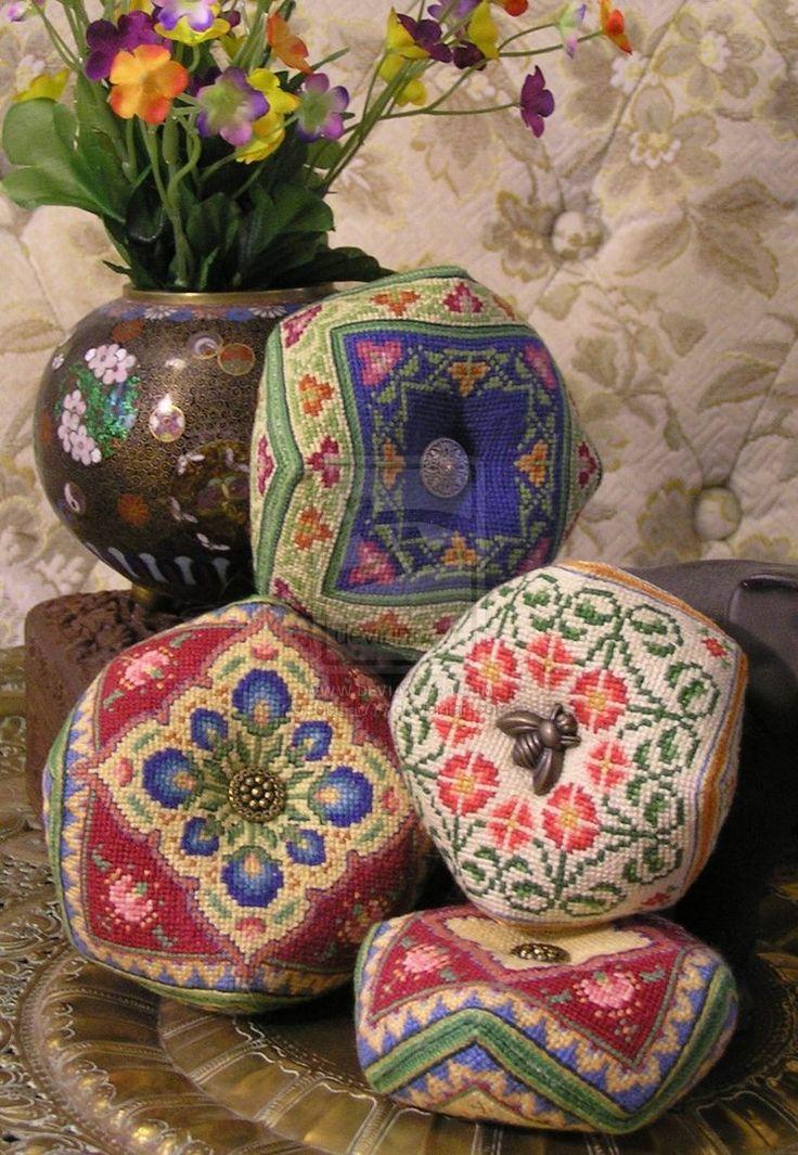 Biscornu Pin cushions - Petit Point by Maya Heath