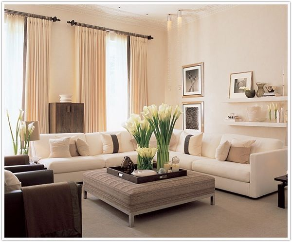 L-shaped sofa - notice one side does not have an arm (like a chaise) | Love this nice cream L shaped couch!